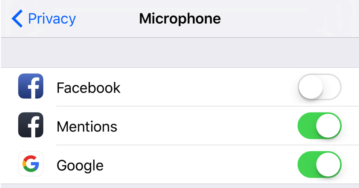 turn off microphone facebook ios iphone