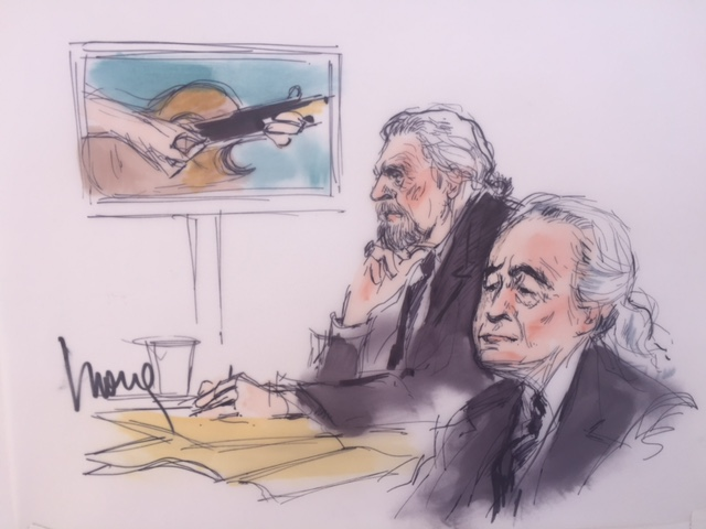 Robert Plant, left, and Jimmy Page are seen in a sketch by Mona S. Edwards appearing in a Los Angeles federal courtroom on June 14, 2016.