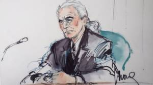 """A courtroom sketch by Mona S. Edwards shows Led Zeppelin's Jimmy Page in a downtown Los Angeles federal courtroom during the copyright trial over """"Stairway to Heaven"""" on June 14, 2016."""