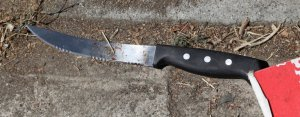 A photo of a knife recovered from the scene of an officer involved shooting in Long Beach was provided by the Long Beach Police Department on June 28, 2016.