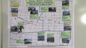 LAPD in May 2011 displayed this map of robberies and killings that five years later led to the convictions of three people. (Credit: KTLA)