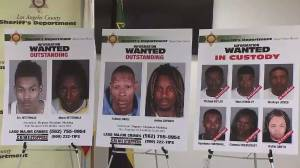 At a news conference on June 9, 2016, the Sheriff's Department display photos of four wanted and six in custody in connection with a burglary crew. (Credit: KTLA)