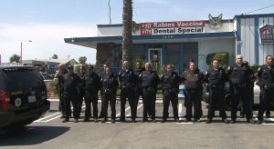 Long Beach police officers waited outside a Signal Hill animal hospital for Credo to come out. The K-9 was shot and killed on June 28, 2016. (Credit: KTLA)