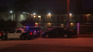 A man was found shot to death in front of a motel in Rosemead on June 2, 2016. (Credit: KTLA)