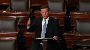 """Democratic Sen. Chris Murphy launched a filibuster Wednesday on the Senate floor, vowing to stay """"for as long as I can"""" until Congress acts on gun control legislation. (Credit: Senate TV)"""