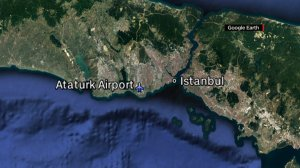 Two explosions and gunfire took place at the Istanbul Ataturk airport on June 28, 2016. (Credit: Google Earth/CNN)