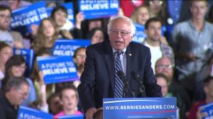 Bernie Sanders addresses supporters on the night of the California Primary. (Credit: KTLA)