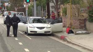 Santa Monica police found weapons and possible explosives in a car in Santa Monica on June 12, 2016. (Credit: KTLA)