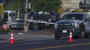 Power was out to customers in Sherman Oaks after a car crashed into a power pole on June 3, 2016. (Credit: KTLA)