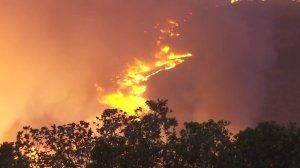 The Sherpa Fire, which broke out west of Goleta on June 15, 2016, burns on a hillside in Santa Barbara County. (Credit: KTLA)