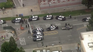 Patrol cars are seen after an active shooter was reported at UCLA on June 1, 2016. (Credit: KTLA)