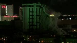 The Monaco Tower at the Riviera Hotel and Casino was demolished June 14, 2016. (Credit: KVVU)
