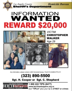 A flier announcing the a $20,000 reward in the death of Christopher Walker was released by the Los Angeles County Sheriff's Department on June 1, 2016.