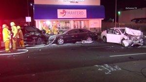 A fiery four-car crash on Ventura Boulevard in Woodland Hills on June 26, 2016, left three people dead. (Credit: OnScene TV)