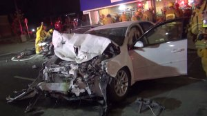 Police say the initial impact was between a Ford Mustang and a Mercedes-Benz. Two others cars were also involved. (Credit: OnScene TV)
