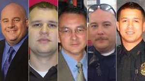 Dallas police Senior Cpl. Lorne Ahrens, Officer Michael Krol, Sgt. Michael Smith, DART Officer Brent Thompson, and Officer Patrick Zamarripa are shown left to right in photos posted by the National Law Enforcement Officers Memorial Fund.