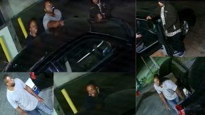 Police released surveillance photos of three men suspected in the shooting death of a man at a Buena Park gas station on July 1, 2016.