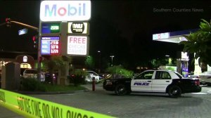 Police responded after a man was fatally shot at a Mobil gas station in Buena Park on July 1, 2016. (Credit: Southern Counties News)