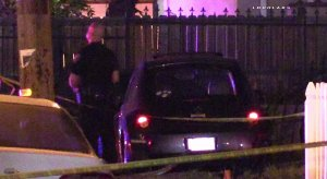 San Bernardino police investigate the homicide of Jaemiah Trammel, who was found shot to death in her car on July 20, 2016. (Credit: Loudlabs)