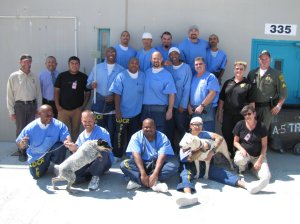 Dogs being housed at a Lancaster prison are shown with inmates. (Credit: California Department of Corrections and Rehabilitation via Los Angeles Times)