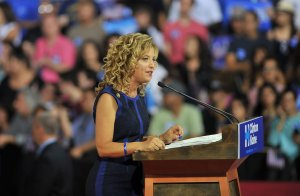 Democratic National Committee Chair, Congresswoman Debbie Wasserman Schultz of Florida addresses a campaign rally for Democratic presidential candidate Hillary Clinton and running mate Tim Kaine at Florida International University in Miami, Florida, July 23, 2016. (Credit: GASTON DE CARDENAS/AFP/Getty Images)