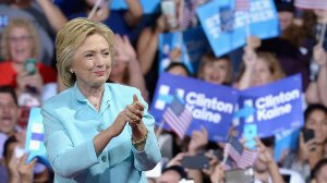 Democratic presidential candidate former Secretary of State Hillary Clinton is seen at Florida International University Panther Arena on July 23, 2016, in Miami, Florida. (Credit: Gustavo Caballero/Getty Images)
