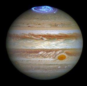 Astronomers are using NASA's Hubble Space Telescope to study auroras — stunning light shows in a planet's atmosphere — on the poles of the largest planet in the solar system, Jupiter. This image was released June 30, 2016. (Credits: NASA, ESA, and J. Nichols/University of Leicester)
