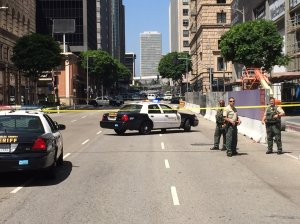 Authorities respond to a suspicious package outside Metro Center on July 7, 2016. (Credit: Dave Mecham / KTLA)
