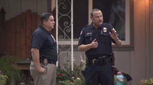 Police investigate a home-invasion in Monrovia on July 12, 2016. (Credit: KTLA)