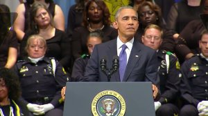 President Barack Obama speaks at a memorial service for five officers killed in Dallas on July 12, 2016.