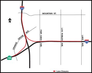 A Caltrans map shows closures on the westbound 210 Freeway in red.