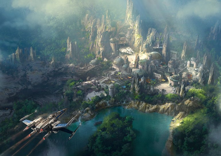 "The latest artist rendition of the ""Star Wars"" land that is under construction in Disneyland shows the Millennium Falcon in a prominent position. (Credit: Walt Disney Co.)"