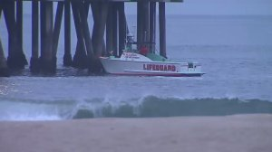 Authorities were searching for a missing swimmer off Venice Beach on July 2, 2016. (Credit: KTLA)