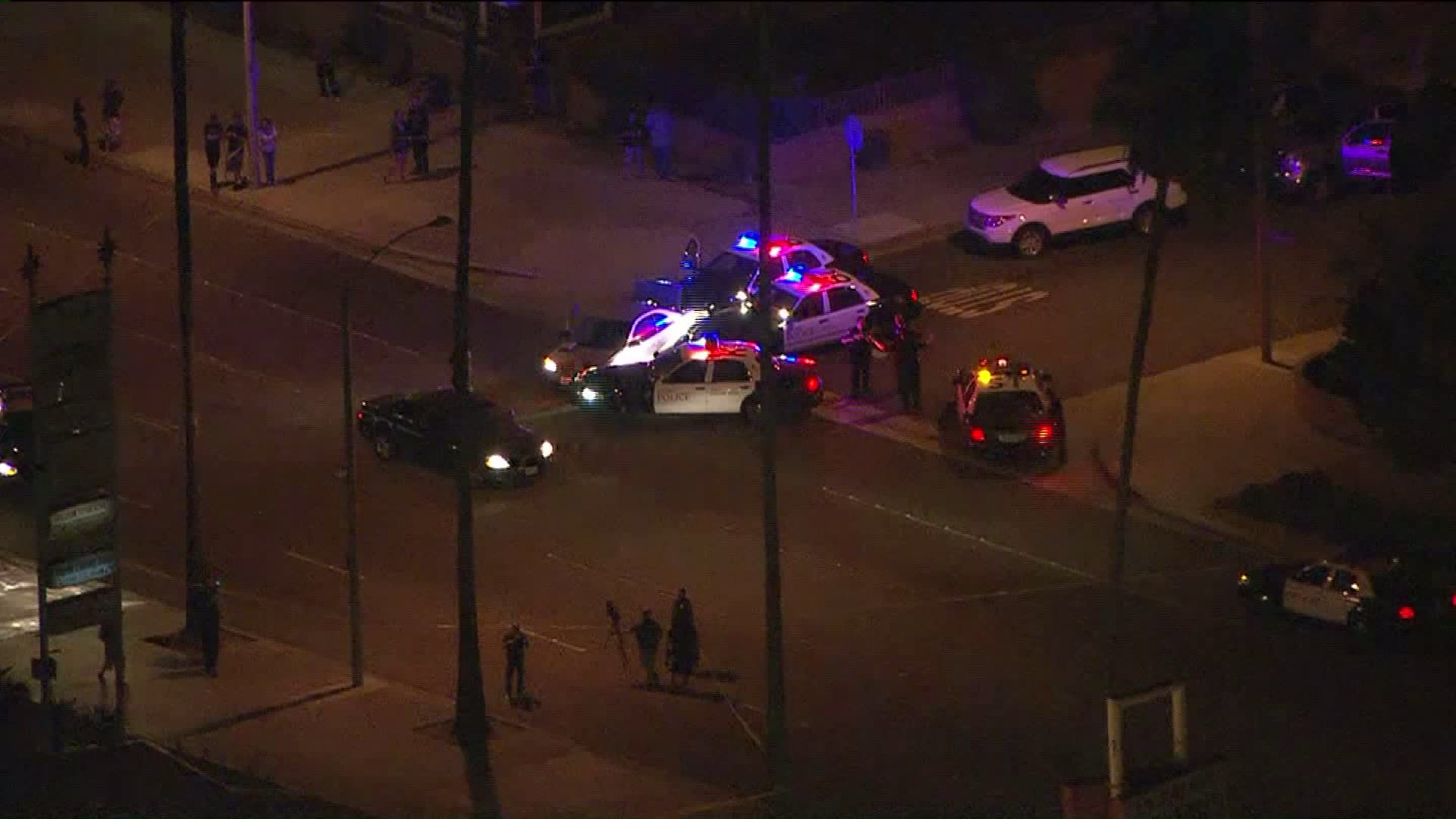 An officer involved shooting was under investigation in Anaheim on Aug. 24, 2016. (Credit: KTLA)