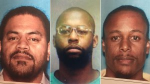 From left: Jeffrey Tuli, Dejon Vincent Griffin and Aaron Vermont Jackson are pictured in booking photos released by Buena Park police.