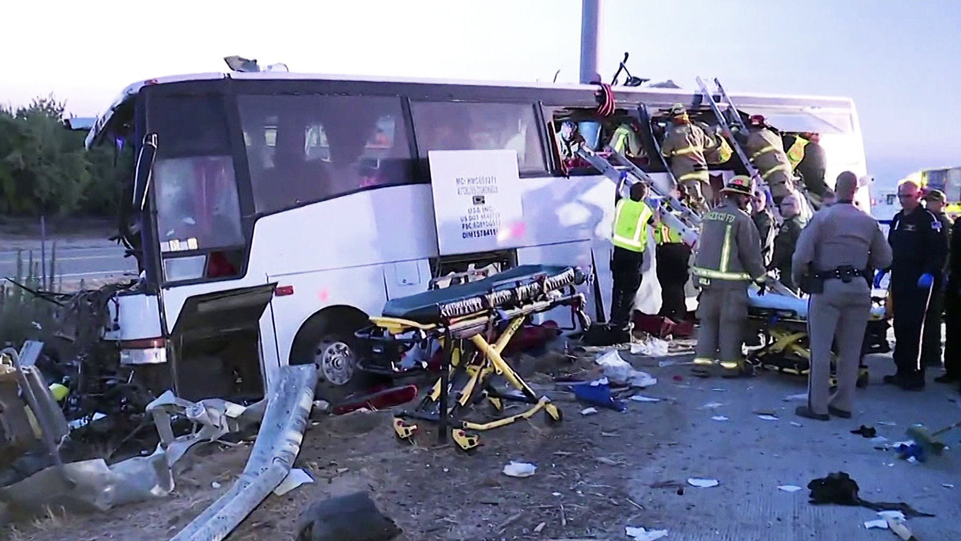 Authorities respond to a fatal bus crash in Merced County on Aug. 2, 2016. (Credit: KMPH via CNN)