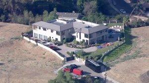 LAPD responded to Chris Brown's home in Tarzana on Aug. 30, 2016. (Credit: KTLA)