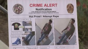 A poster displayed at an Aug. 16, 2016, news conference shows an LAPD crime alert for a string of crimes that occurred in East Hollywood, Echo Park, downtown and Silver Lake. (Credit: KTLA)