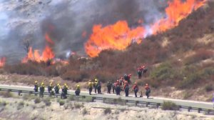 Firefighters face flames from the Blue Cut Fire in the Cajon Pass area on Aug. 16, 2016. (Credit: KTLA)