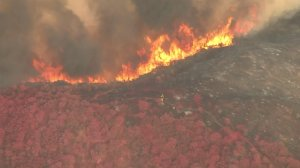 Flames rage near where a plane made a retardant drop on the Bogart Fire that burned near Beaumont on Aug. 30, 2016 (Credit KTLA)
