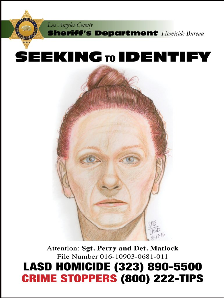 An LASD flier released Aug. 18, 2016, shows a sketch of a woman whose body was found near Gorman.
