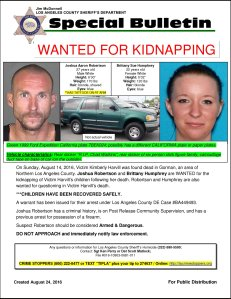 An LASD flier issued Aug. 24, 2016, details the search for Joshua Robertson and Brittany Humphrey.