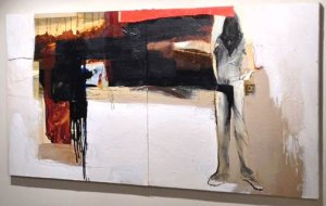 """The stolen painting is a 3 foot by 6 foot mixed media on canvas by Neil Nagy called """"Escondido."""" (Credit: LAPD)"""
