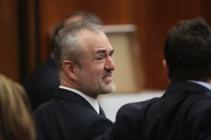 Nick Denton, founder of Gawker, talks with his legal team before Terry Bollea, aka Hulk Hogan, testifies in court during his trial against Gawker Media at the Pinellas County Courthouse on March 8, 2016, in St Petersburg, Florida.  (Credit: John Pendygraft-Pool/Getty Images)