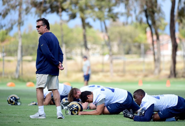 Head coach Jeff Fisher of the Los Angeles Rams observes warm up during a Los Angeles Rams rookie camp on May 6, 2016, in Oxnard. (Credit: Harry How/Getty Images)