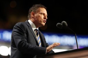 Peter Thiel, co-founder of PayPal,  delivers a speech during the evening session on the fourth day of the Republican National Convention on July 21, 2016, in Cleveland, Ohio. (Credit: Joe Raedle/Getty Images)