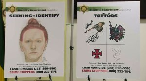 LASD displayed these images at an Aug. 18, 2016, news conference in its effort to identify a woman whose body was found near Gorman. (Credit: KTLA)