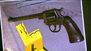 A handgun recovered from the scene of an officer-involved shooting was displayed by the Los Angeles Police Department during a news conference on Aug. 10, 2016. (Credit: KTLA)