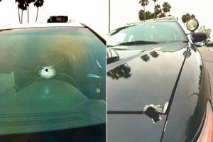 Huntington Beach police released these photos of gunshots in a police SUV after an officer-involved shooting and pursuit on Aug. 26, 2016.