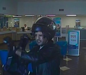 """The """"Helmet Head Bandit"""" is seen in a photo provided by the FBI on Aug. 31, 2016."""
